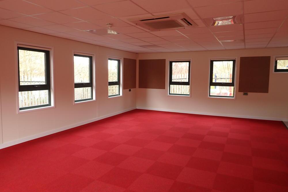 Modular Classroom Hire ~ Modular building clad with brick slips